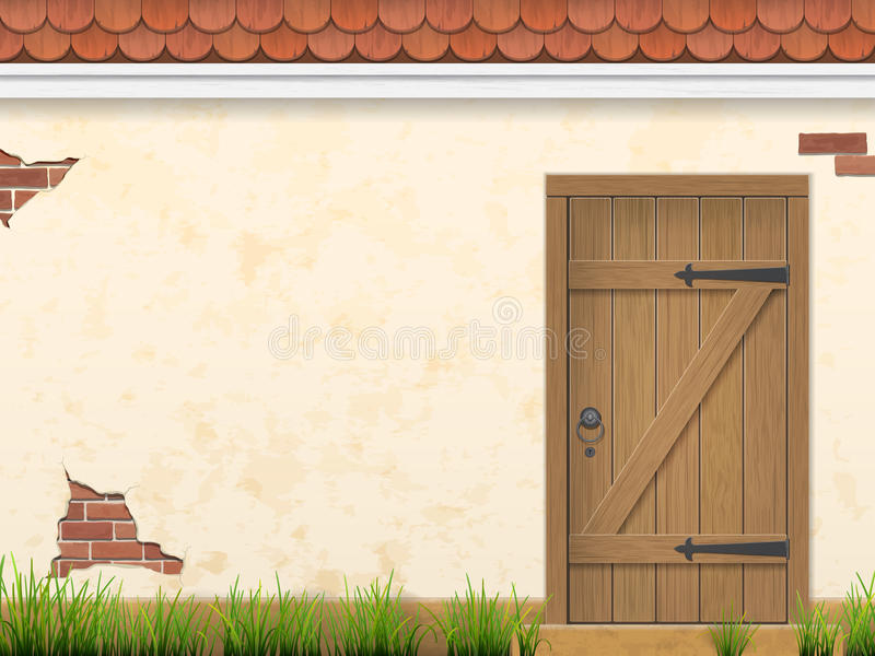 Vieille herbe de mur et porte en bois illustration stock
