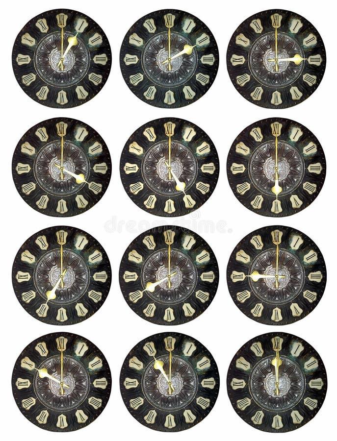 Vieille horloge avec les chiffres romains images stock