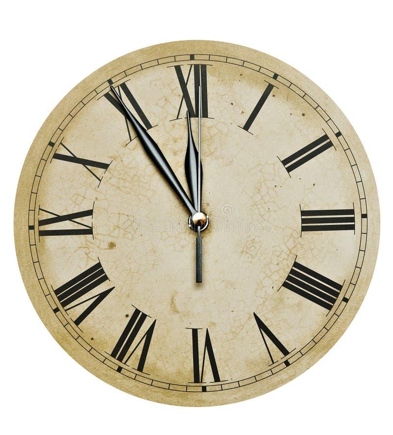 Vieille horloge d'isolement sur le blanc photos stock