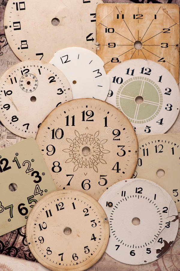 Vieille horloge de visage, fond de vintage image stock