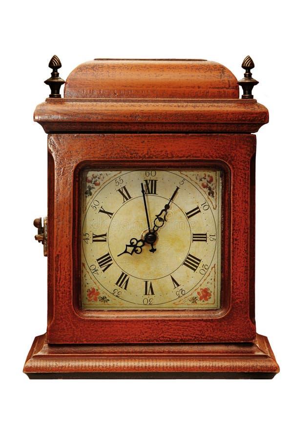 Vieille horloge en bois image libre de droits