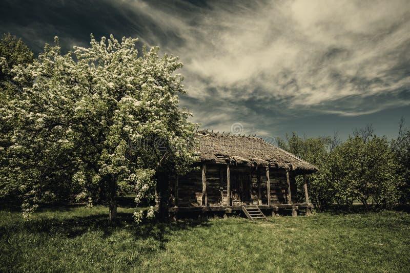 Vieille hutte abandonnée sous les cieux dramatiques images libres de droits