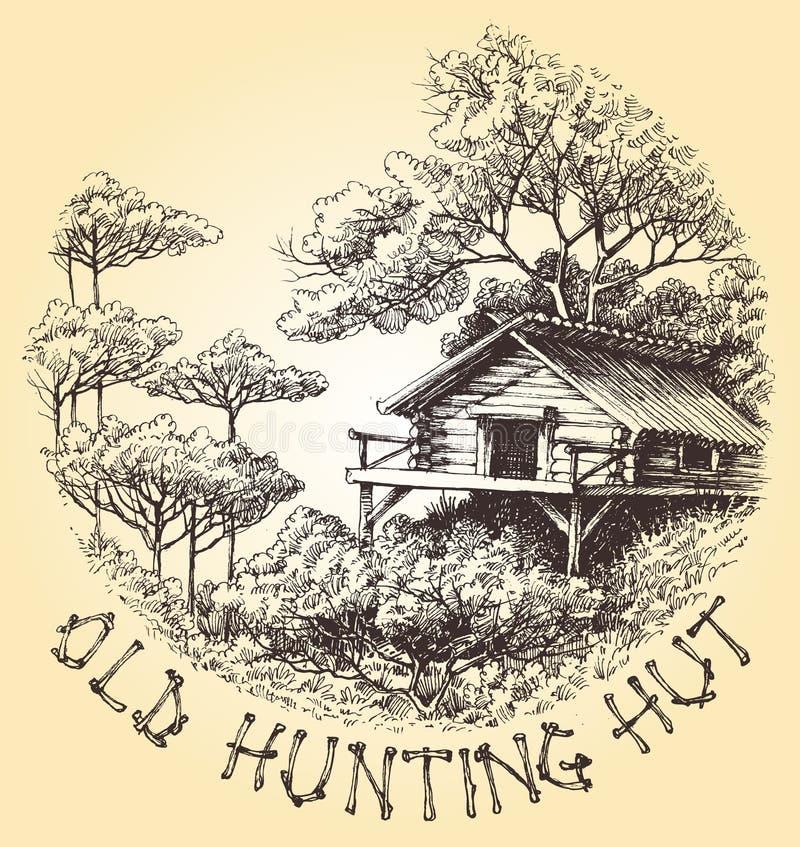 Vieille hutte de chasse illustration stock