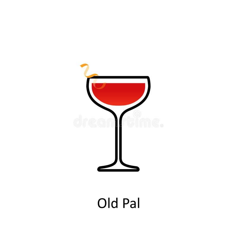 Vieille icône de cocktail de copain illustration libre de droits