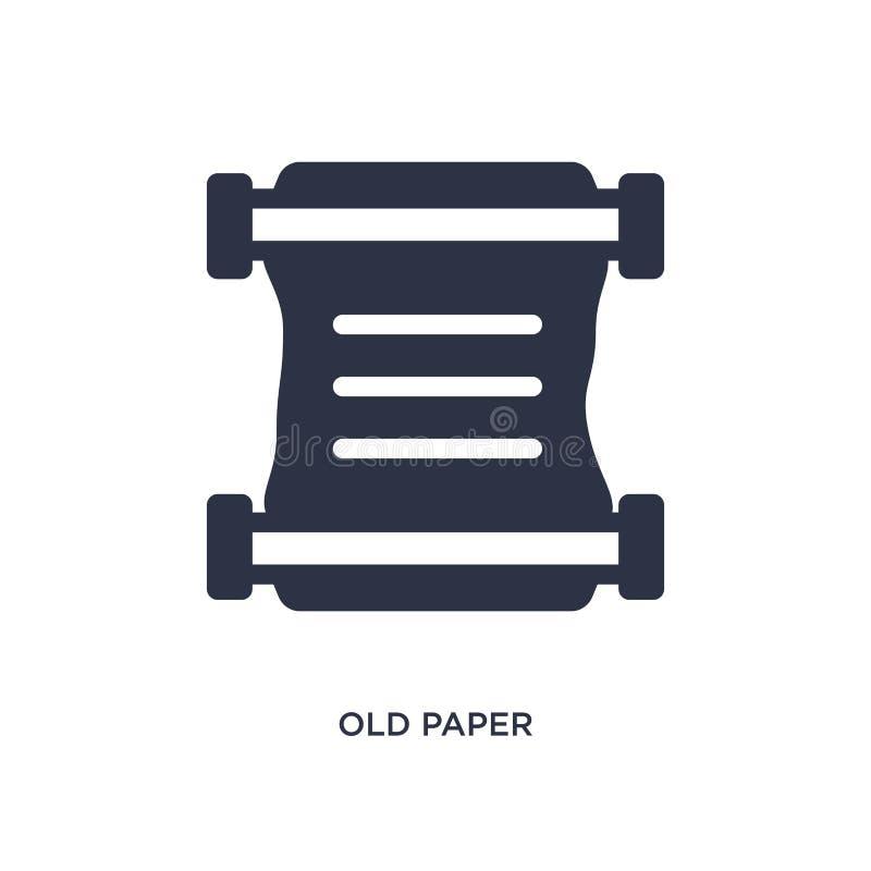 vieille icône de papier sur le fond blanc Illustration simple d'élément de concept d'histoire illustration de vecteur