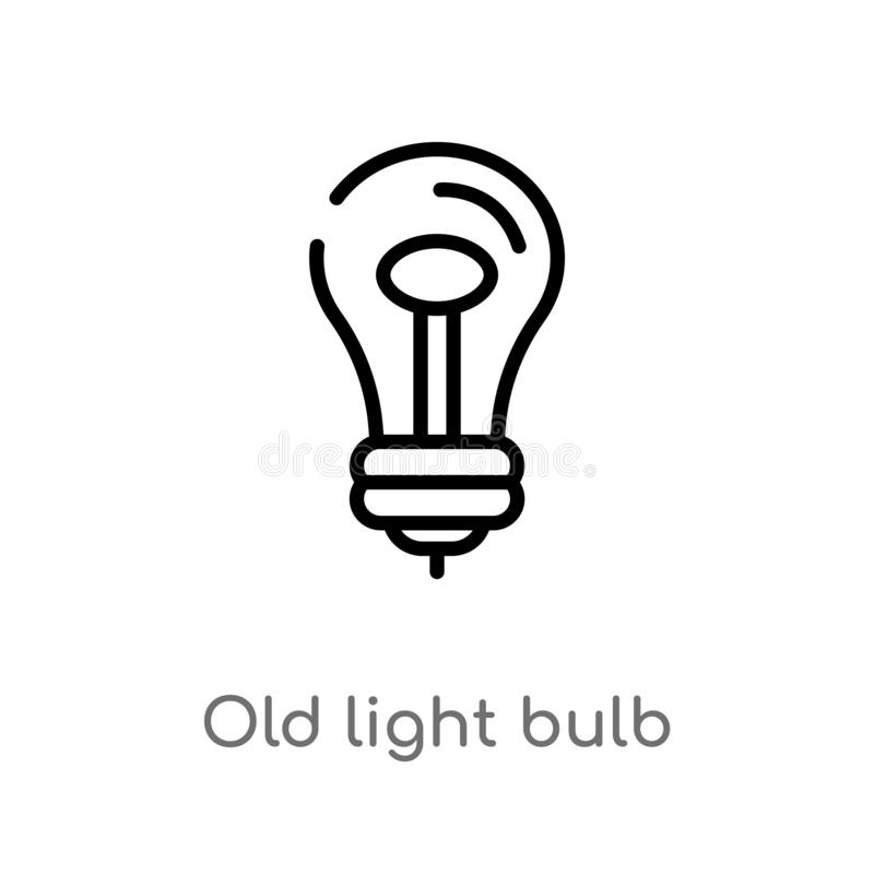 vieille icône de vecteur d'ampoule d'ensemble ligne simple noire d'isolement illustration d'élément de concept de technologie Vec illustration libre de droits