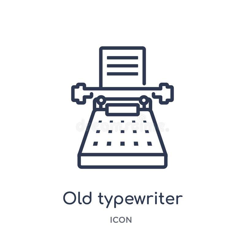 Vieille icône linéaire de machine à écrire de collection d'ensemble général Ligne mince vieille icône de machine à écrire d'isole illustration de vecteur