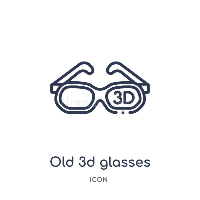Vieille icône linéaire en verre 3d de collection d'ensemble de cinéma Ligne mince vieille icône en verre 3d d'isolement sur le fo illustration libre de droits