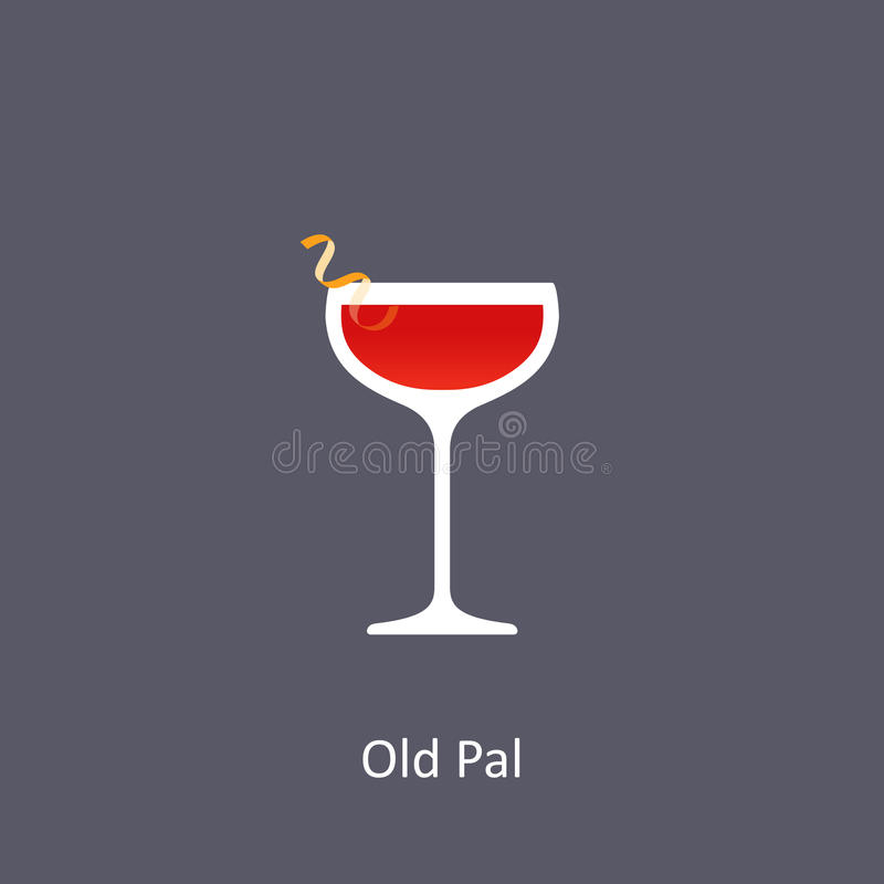 Vieille icône de cocktail de copain sur le fond foncé dans le style plat illustration stock