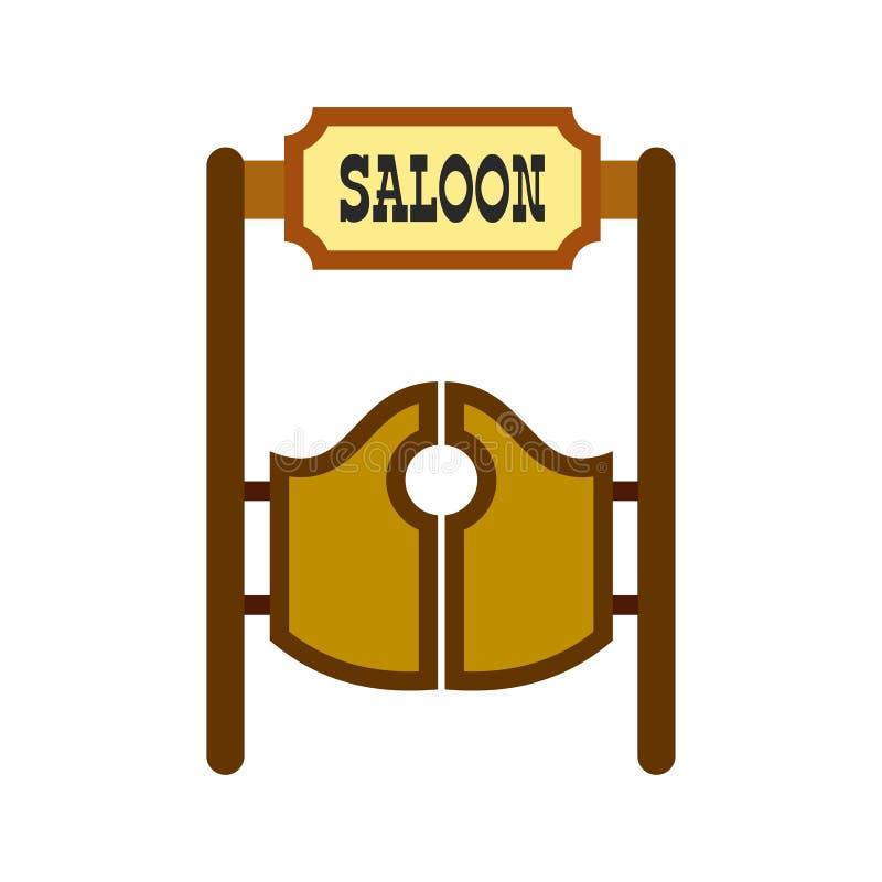 Vieille icône de oscillation occidentale de portes de salle illustration stock