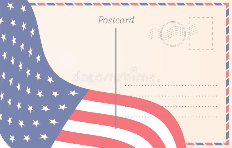 Vieille illustration de carte postale avec le drapeau américain illustration stock