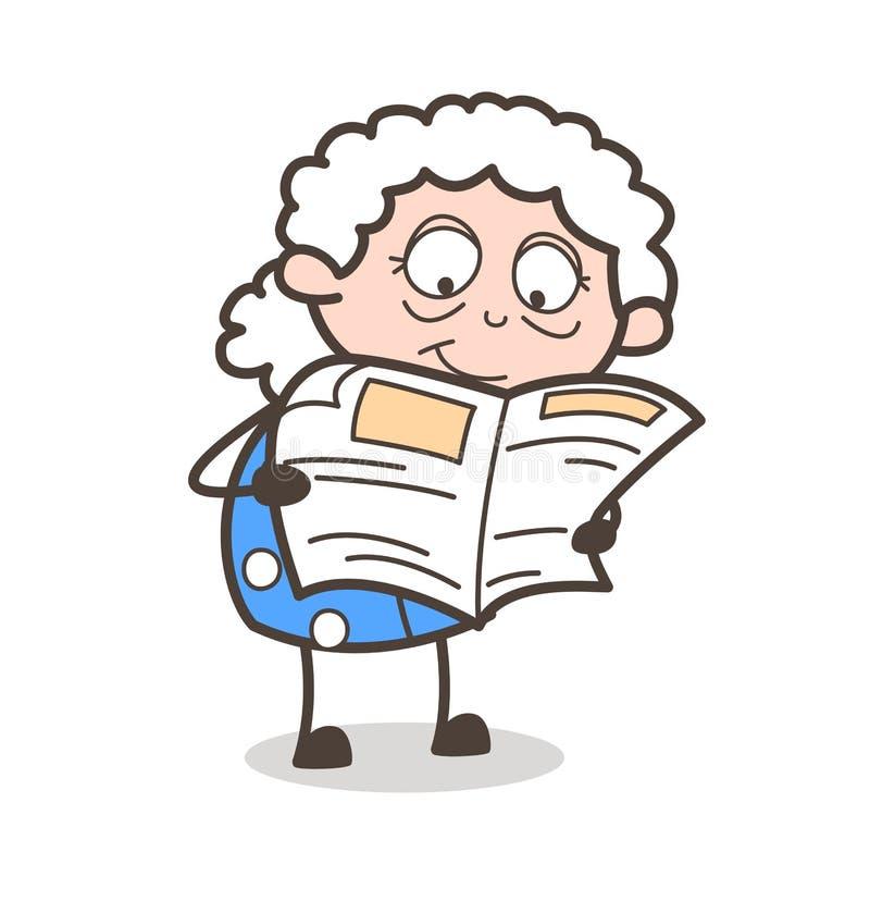 Vieille illustration de vecteur de journal de lecture de grand-maman de bande dessinée illustration de vecteur