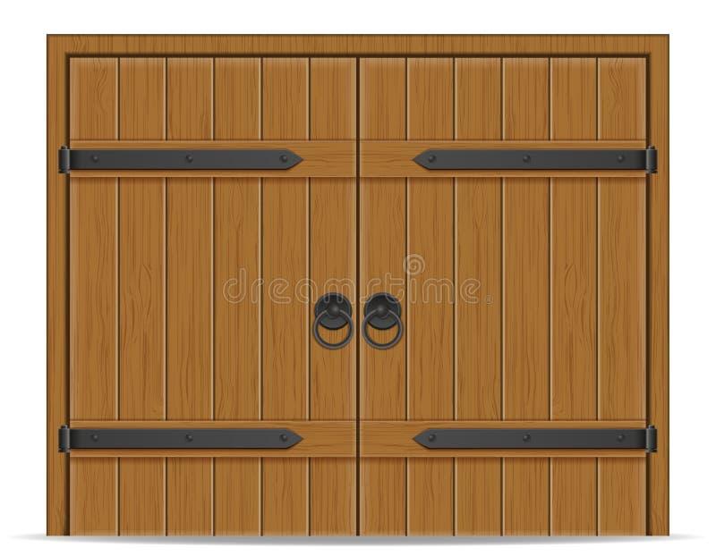 Vieille illustration en bois de vecteur de porte illustration libre de droits
