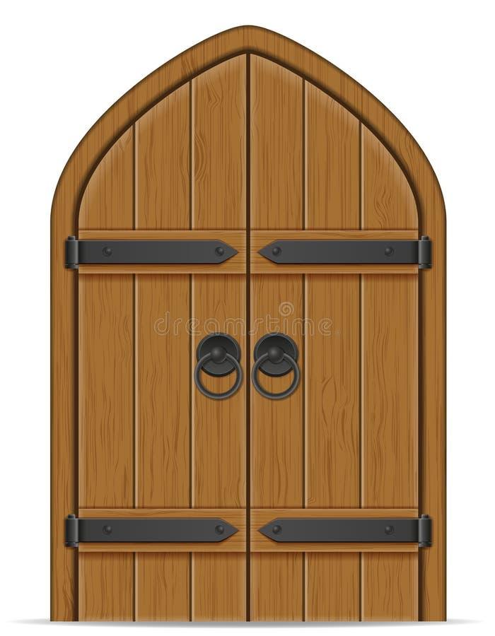 Vieille illustration en bois de vecteur de porte illustration de vecteur
