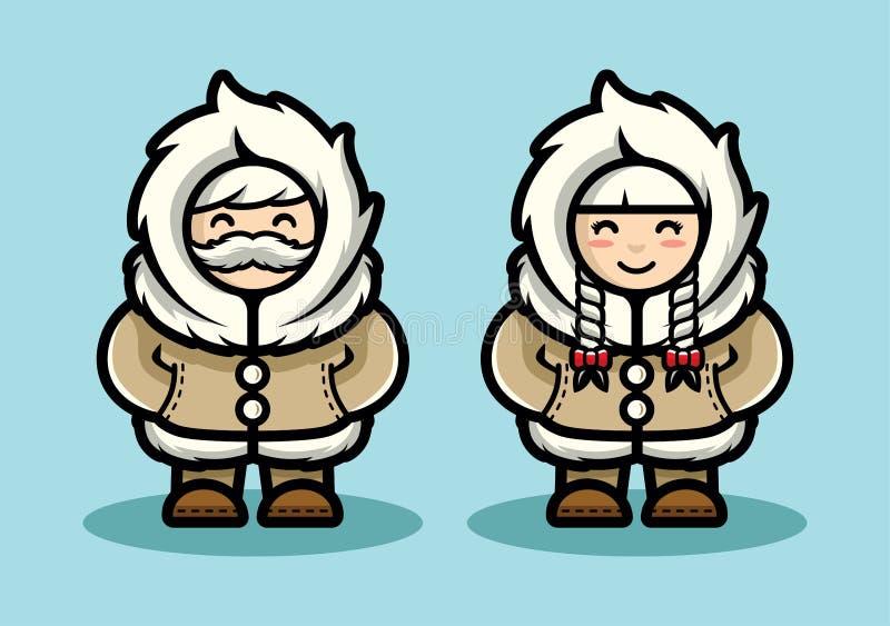 Vieille illustration mignonne esquimaude de couples dans le style de bande dessinée Personnes arctiques vivant dans la conception illustration stock