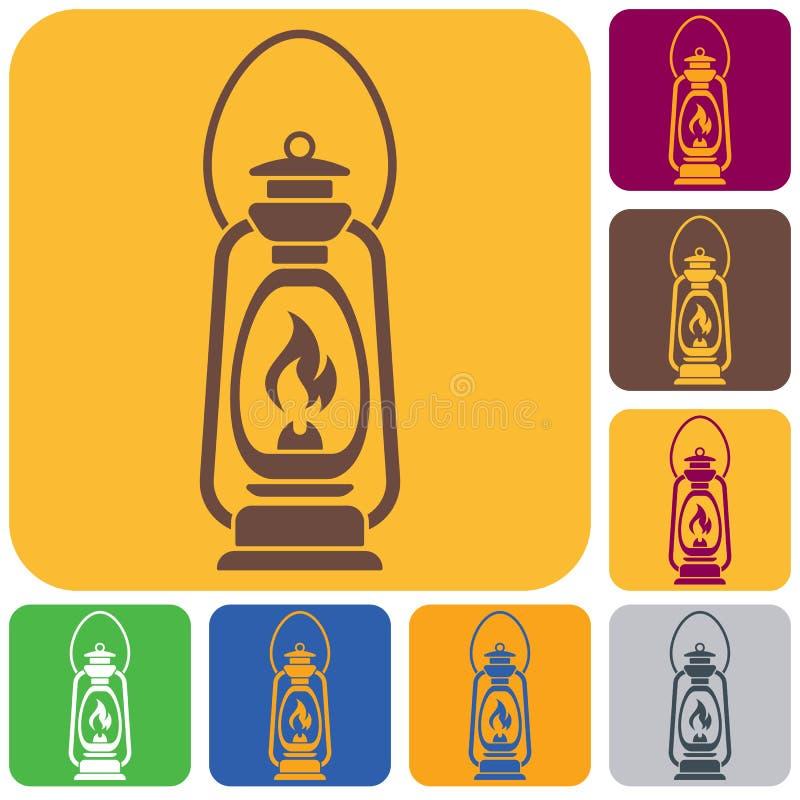 Vieille lampe de kérosène antique d'isolement Rétro conception illustration libre de droits