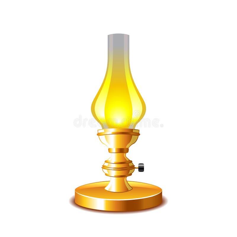 Vieille lampe de kérosène d'isolement sur le vecteur blanc illustration stock