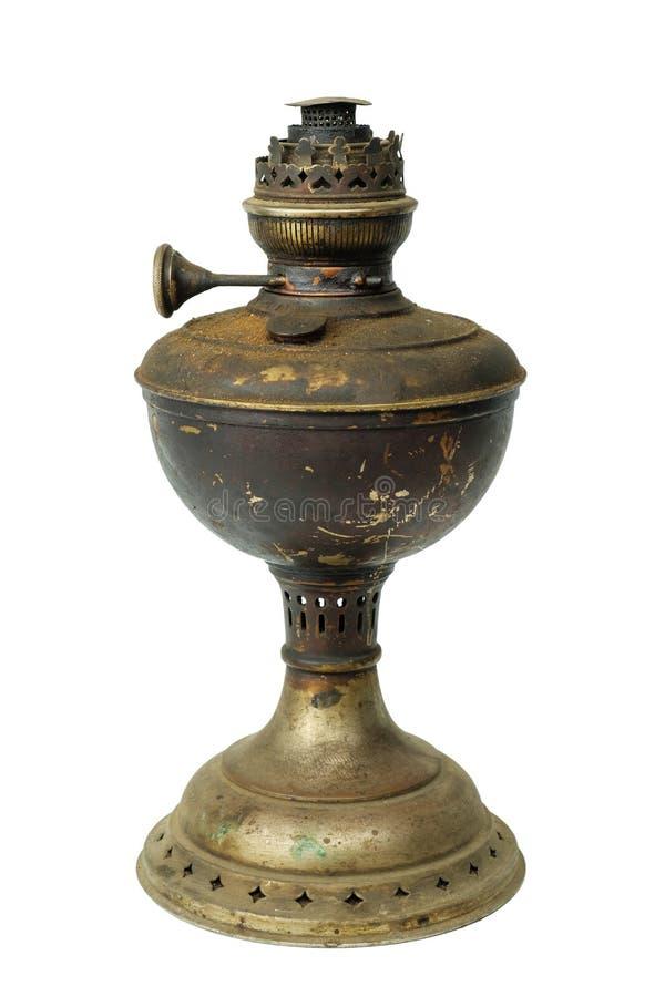 Vieille lampe de kérosène sur le fond blanc photo stock