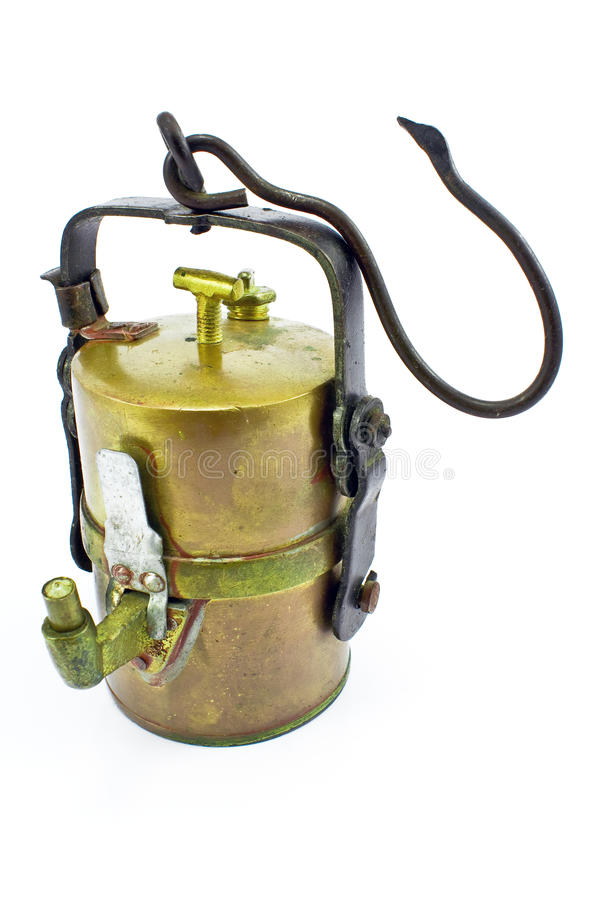 Vieille lampe de mineurs de carbure image libre de droits