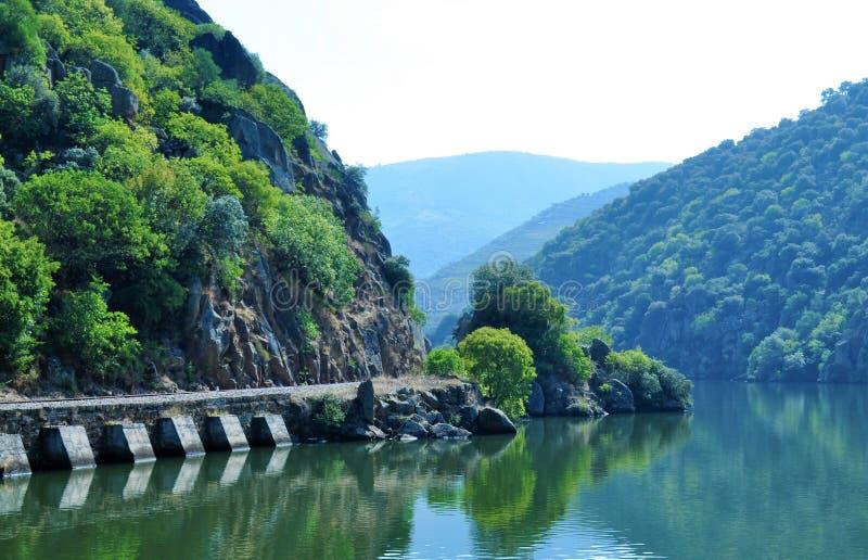 Vieille ligne de train par la rivière - rivière de Douro photos libres de droits