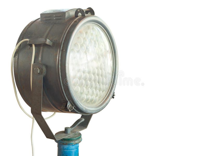 Vieille lumière de tache d'isolement sur le fond blanc photo libre de droits
