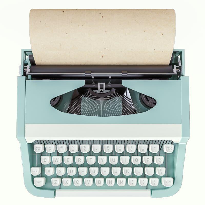 Vieille machine à écrire d'isolement sur blanc, concept de l'écriture, journalisme, créant un document, nostalgie illustration libre de droits