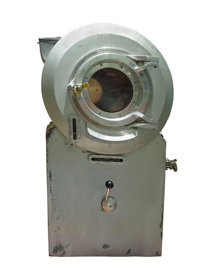 Vieille machine à laver antique d'essoreuse d'isolement au-dessus du blanc photo libre de droits
