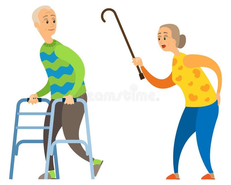Vieille Madame avec le bâton, femme fâchée hurlant au mâle illustration de vecteur