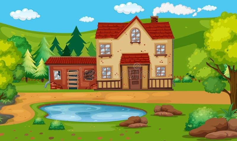 Vieille maison avec l'étang dans la campagne illustration stock