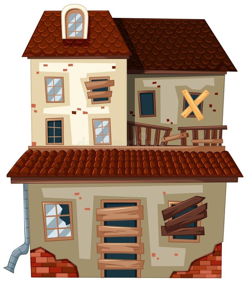 Vieille maison avec le toit rouge illustration de vecteur