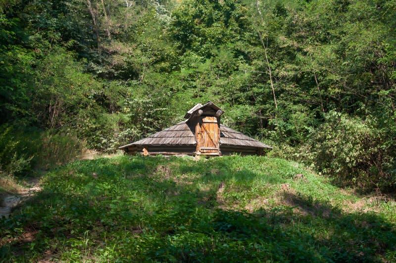 Vieille maison dans la forêt images stock