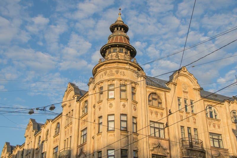 Vieille maison du début du 20ème siècle à Riga, Lettonie image libre de droits