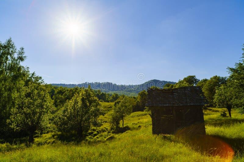 Vieille maison en bois de ruine dans les montagnes des montagnes de Fagaras dans R image libre de droits