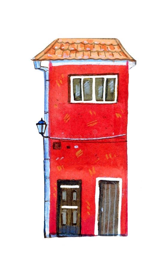 Vieille maison européenne en pierre rouge Illustration tirée par la main d'aquarelle de bande dessinée illustration libre de droits