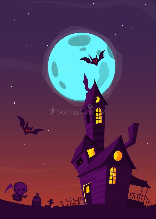 Vieille maison hantée fantasmagorique avec des fantômes Fond de bande dessinée de Halloween Illustration de vecteur illustration de vecteur