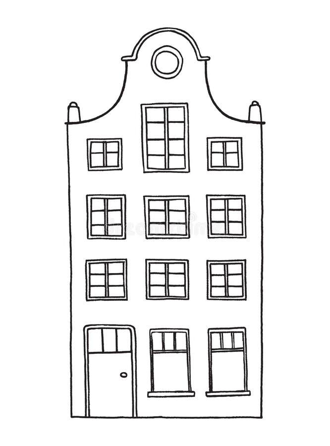 Vieille maison tirée par la main illustration stock
