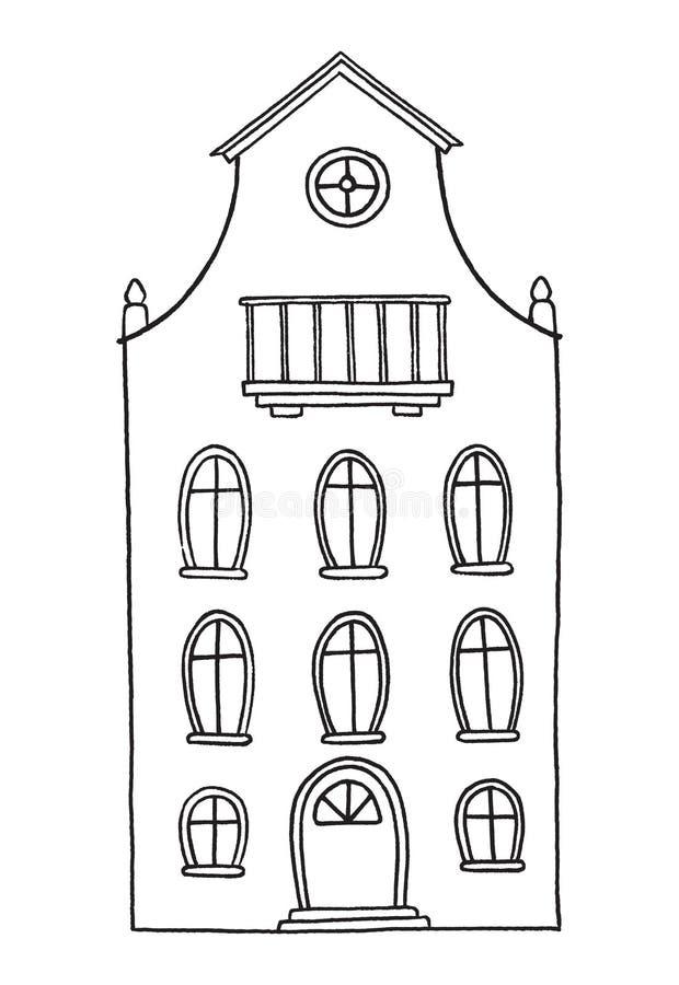 Vieille maison tirée par la main illustration libre de droits