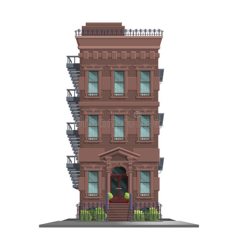Vieille Manhattan maison de New York avec des escaliers Vieux bâtiment et façade abstraits d'isolement illustration libre de droits