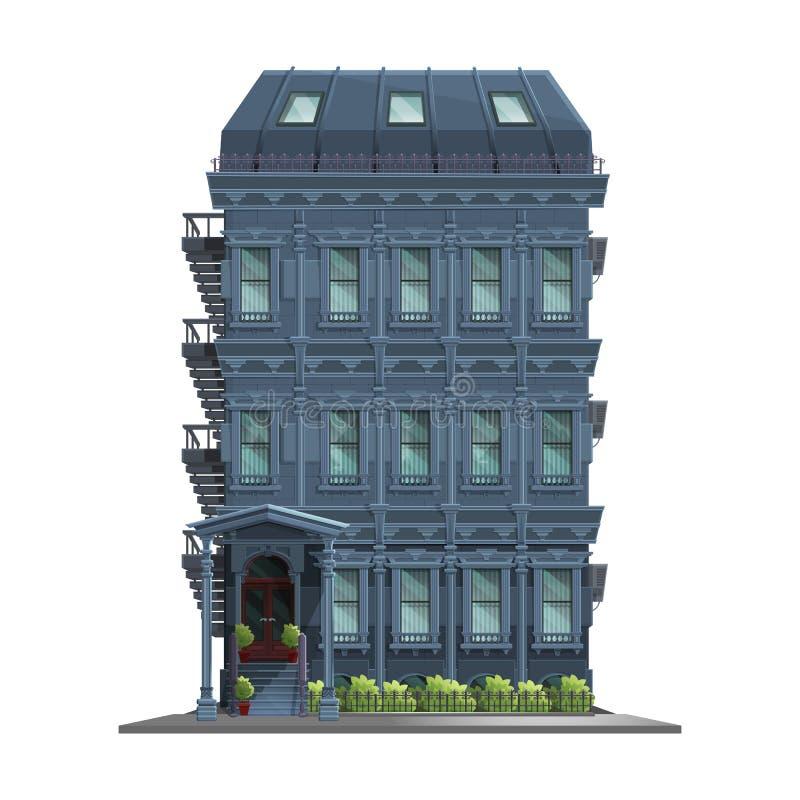 Vieille Manhattan maison de New York avec des escaliers Vieux bâtiment et façade abstraits d'isolement sur le fond blanc illustration stock