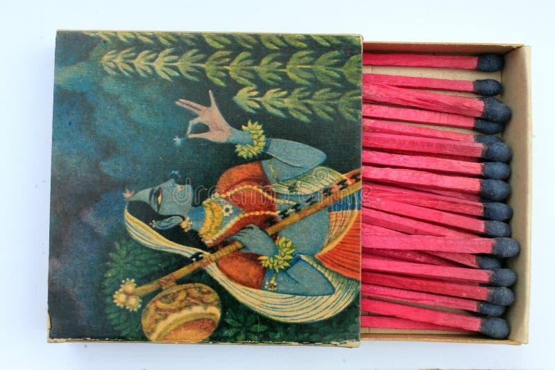 1970 vieille marque adaptée aux besoins du client très rare antique indienne de la boîte d'allumettes WIMCO de sécurité de cru av image libre de droits