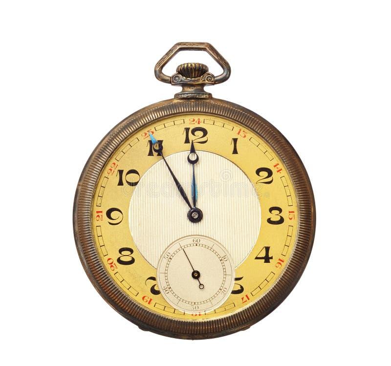 Vieille montre de poche antique d'isolement sur le backgro blanc photos libres de droits