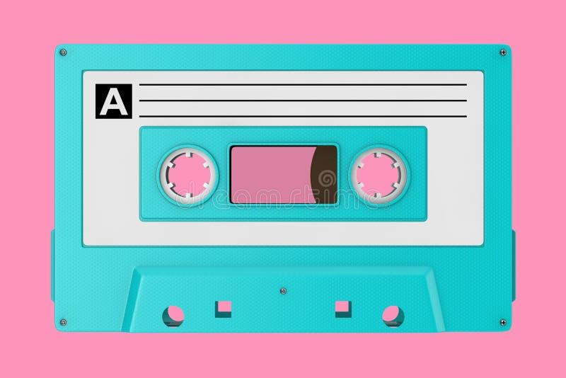 Vieille moquerie bleue de bande de cassette sonore de cru  rendu 3d photos libres de droits