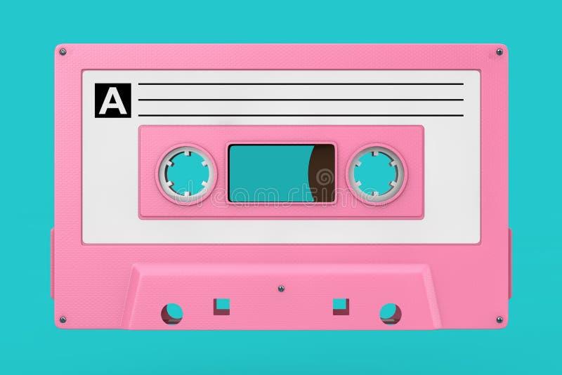 Vieille moquerie rose de bande de cassette sonore de cru  rendu 3d photos libres de droits