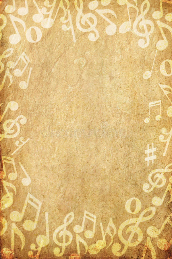Vieille note grunge de papier et de musique avec l'espace illustration de vecteur