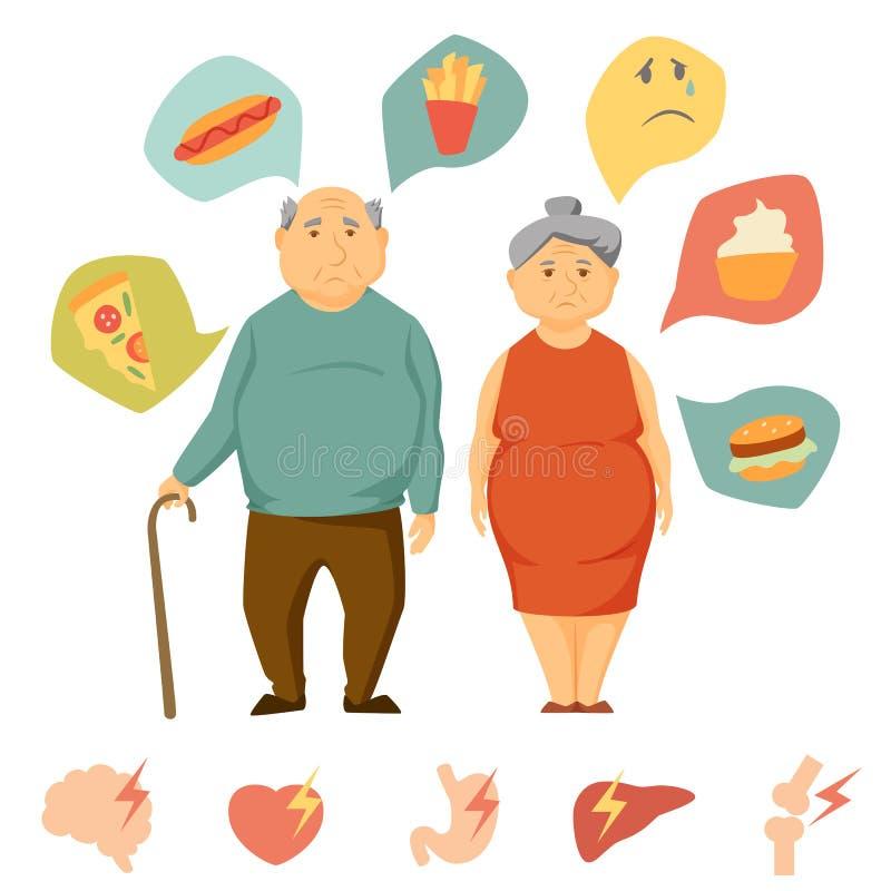 Vieille obésité de couples infographic illustration de vecteur