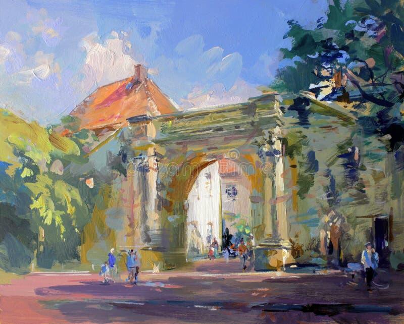 Vieille peinture d'horizontal de ville illustration stock