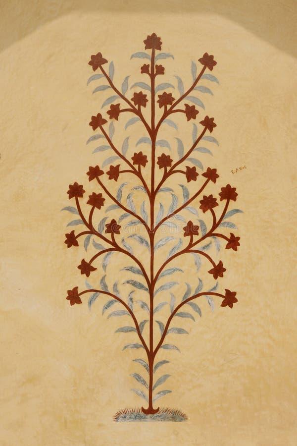 Vieille peinture sur le mur ambre de fort, Inde illustration stock