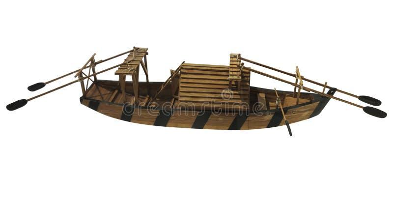 Vieille petite maquette de navires antique en bois d'isolement sur le fond blanc photos stock