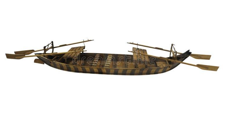 Vieille petite maquette de navires antique en bois d'isolement sur le fond blanc image libre de droits