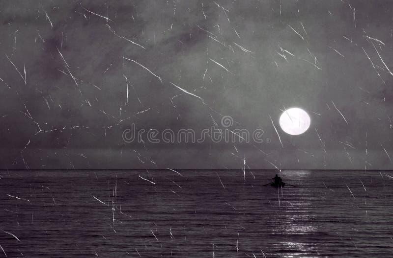 Vieille photo d'horizontal de mer image stock